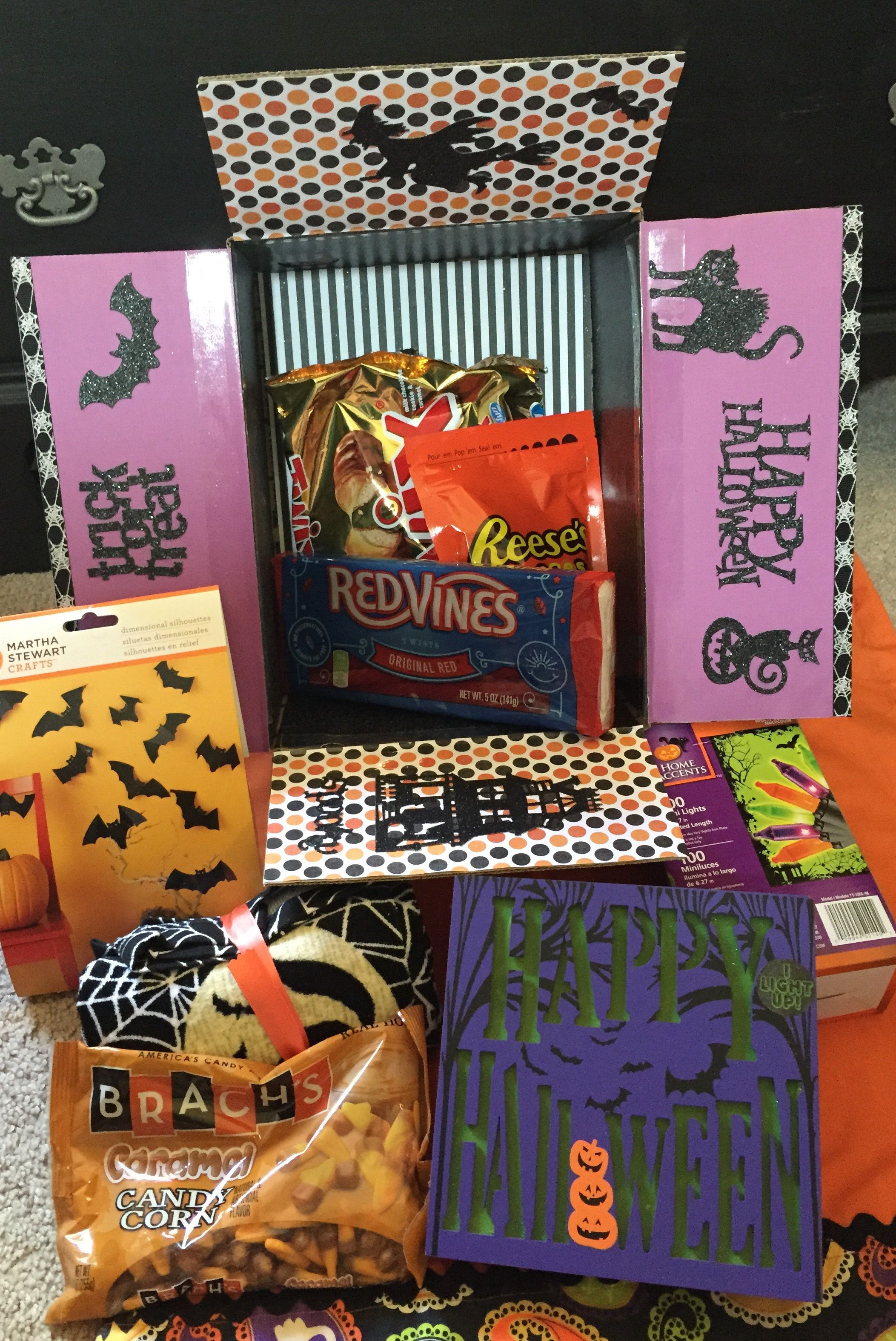 care package sent to daughter at college for Halloween