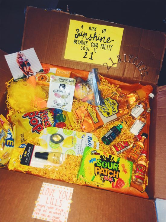 """""""a box of sunshine because your pretty soul is 21"""", inside is mini bottles of alcohol and other yellow things"""