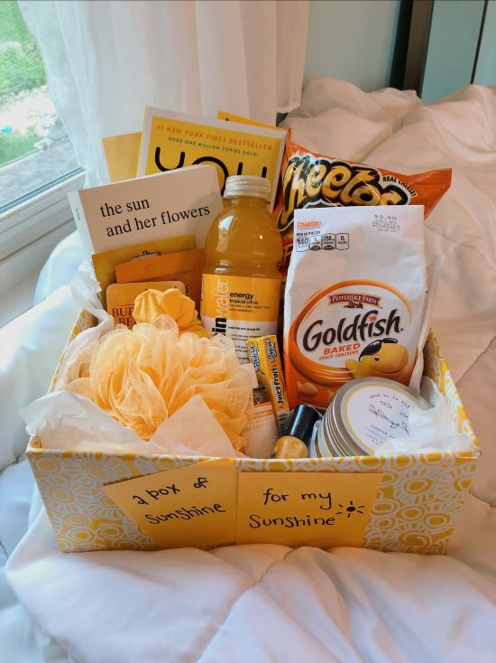yellow gift box from vsco with yellow snacks and small gifts