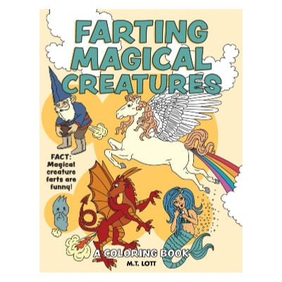 farting magical creatures adult coloring book gift idea