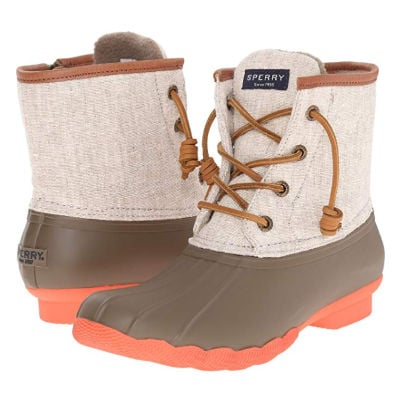 Sperry Saltwater Duck boots in taupe
