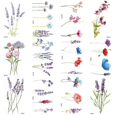 sheet of floral watercolor temporary tattoos