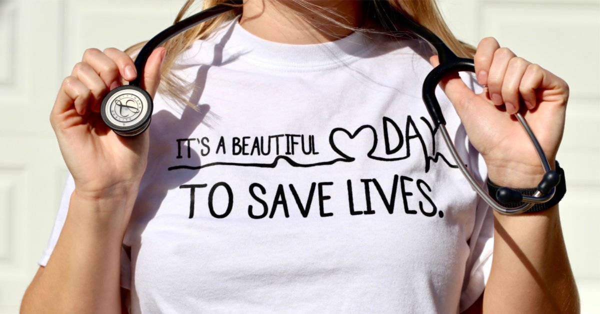 """""""it's a beautiful day to save lives"""" white t-shirt on woman posing with stethoscope"""