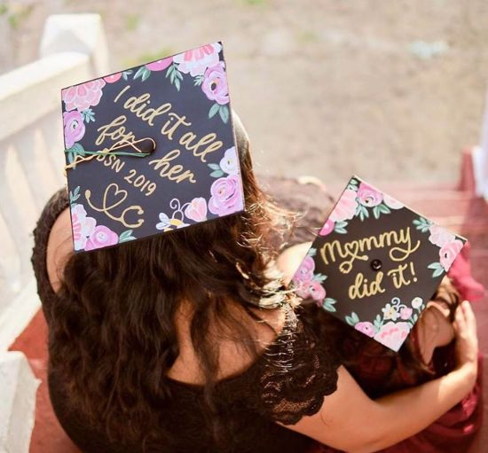 """""""I did it all for her BSN"""" nursing school grad cap with daughter wearing matching cap that says, """"mommy did it!"""""""