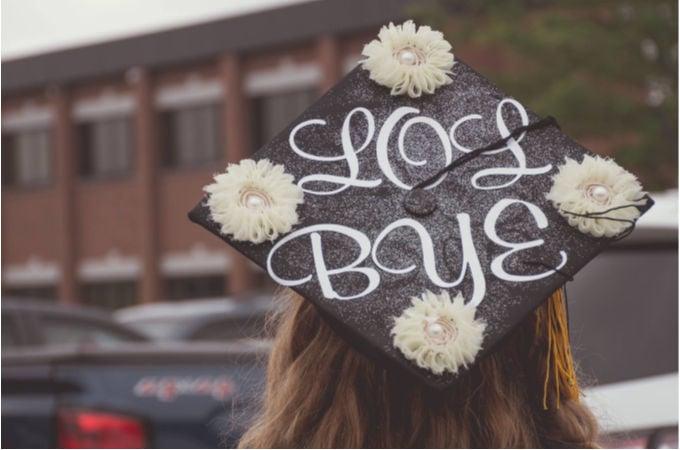 "simple grad cap decoration that says ""LOL BYE"""