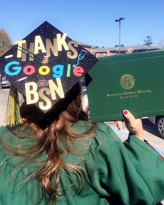 """Thanks Google BSN"" grad posing to show off her cap design"