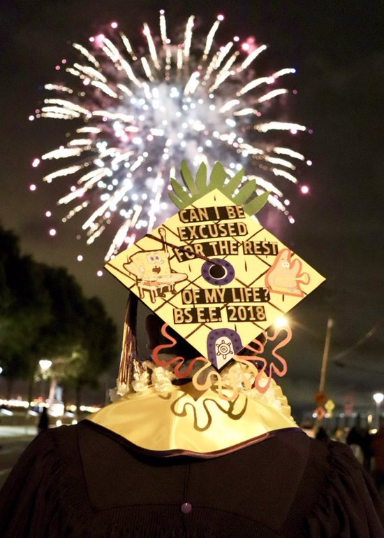 funny spongebob quote on graduation cap