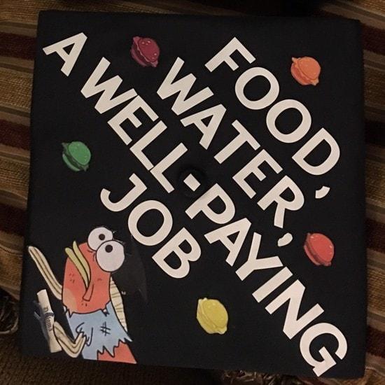 food, water, a well-paying job spongebob inspired grad cap