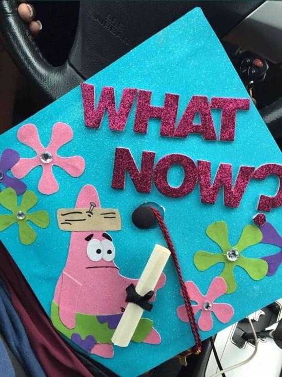 """Now what?"" Patrick star grad cap decoration"