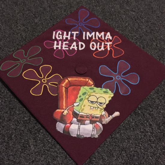 example of graduation cap decoration with ight imma graduate