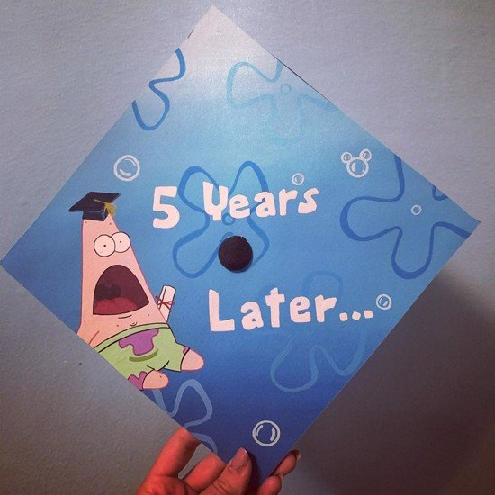 """grad cap with gasping patrick star and """"5 years later..."""""""