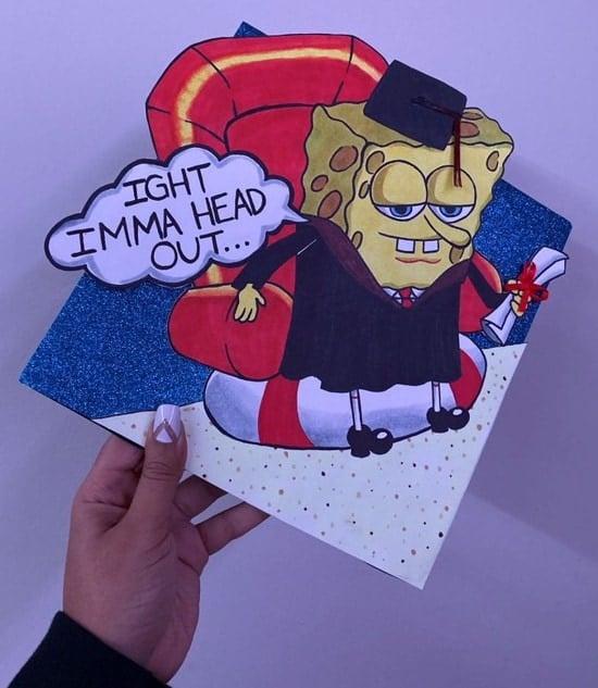 spongebob wearing grad cap and gown ight imma head decoration