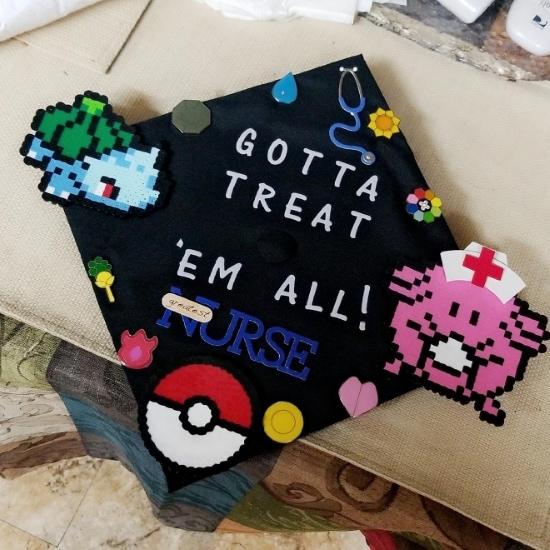 gotta treat em all nurse decorated grad cap example