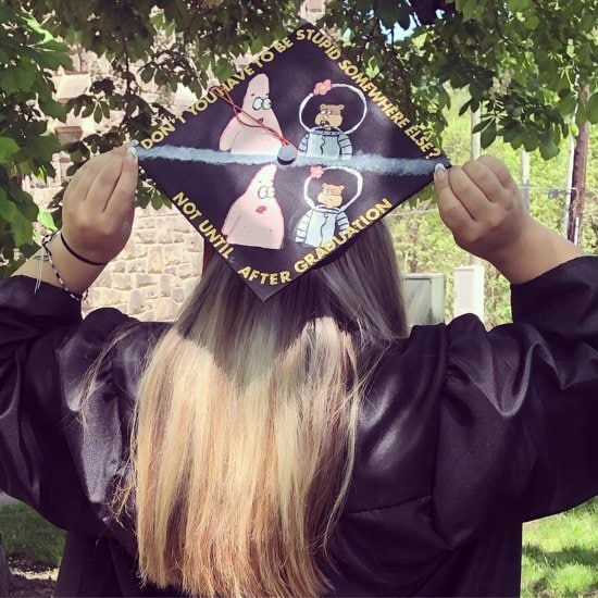don't you have somewhere else to be? spongebob quote on grad cap