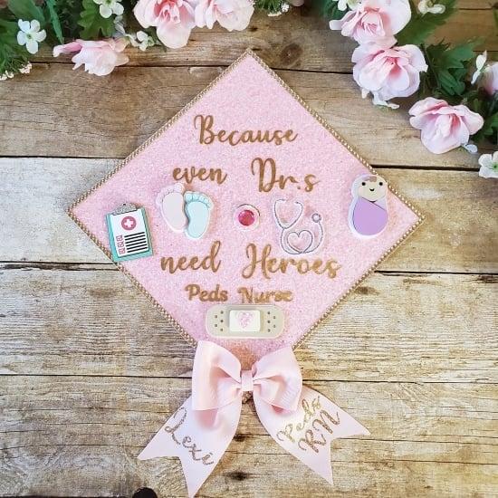 pink graduation cap decoration for a peds nurse rn