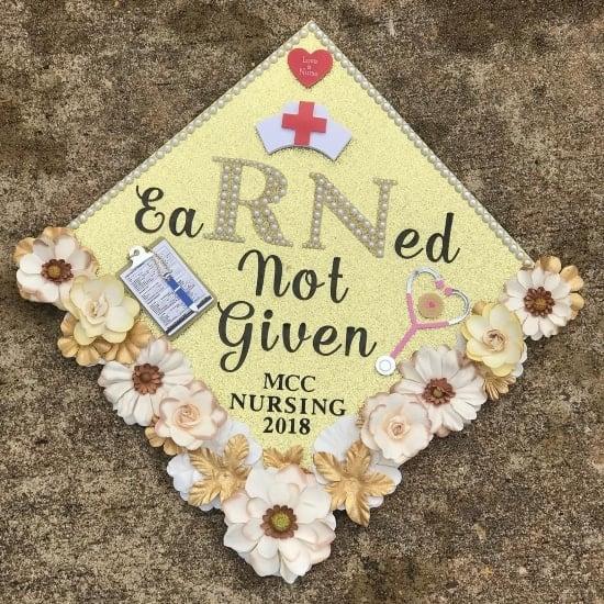 pretty yellow eaRNed not given nursing school graduation cap decoration