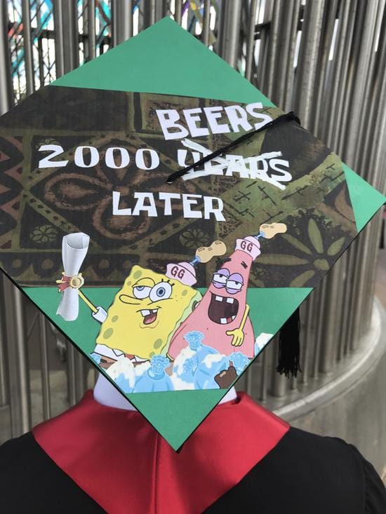 2000 beers later grad cap design with patrick and spongebob