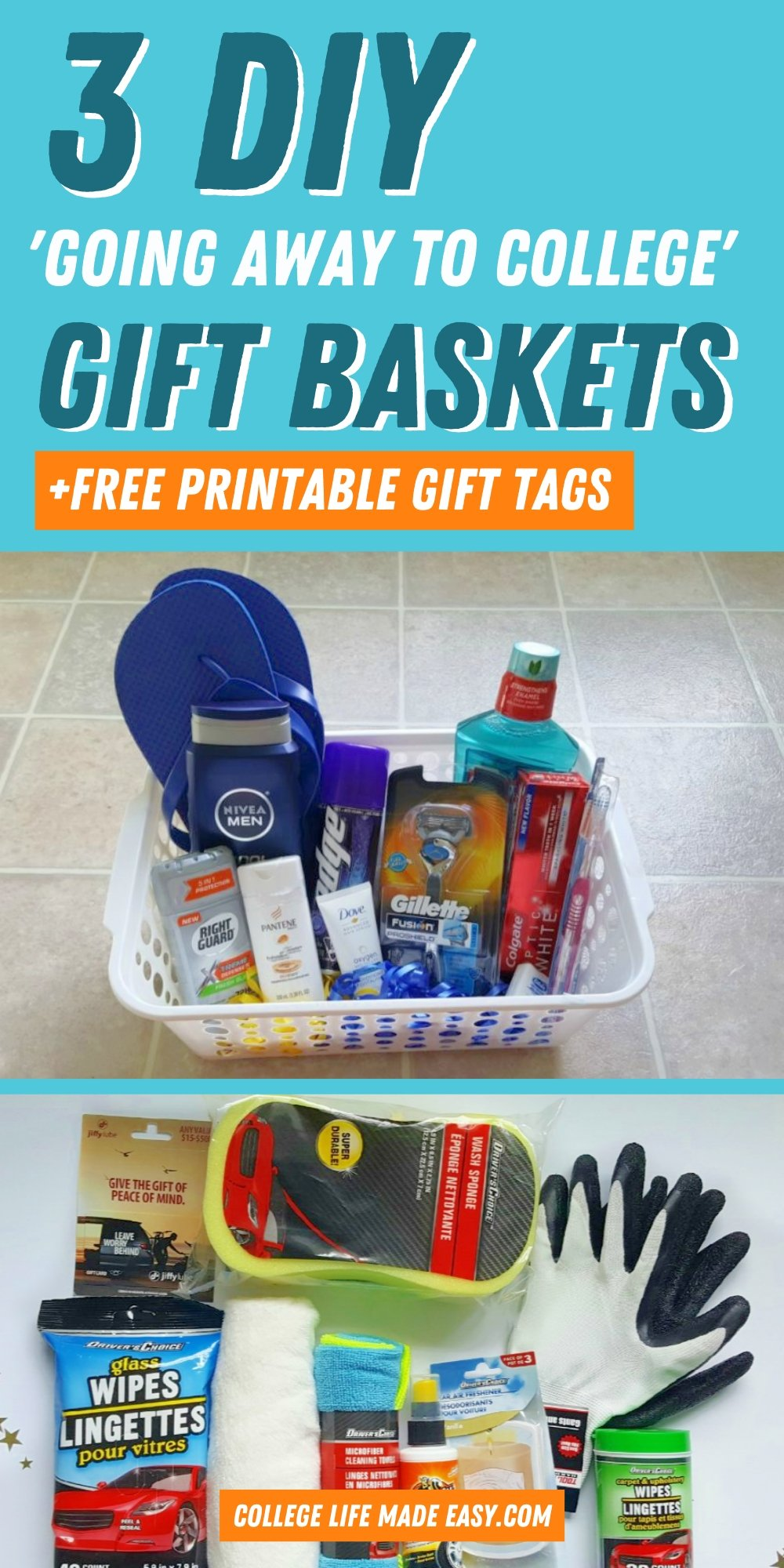 3 DIY going away to college gift baskets + free printable gift tags - Pinterest