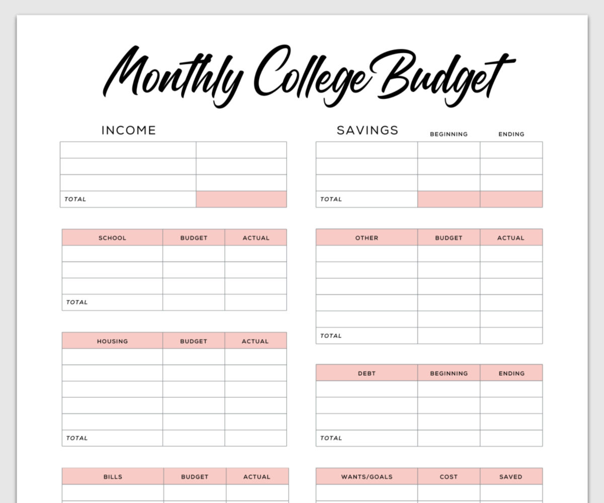 college student budget template example 2 in rose