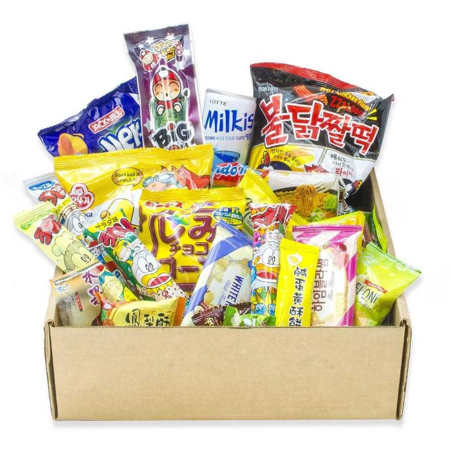 guy care package filled with assorted popular Asian snacks