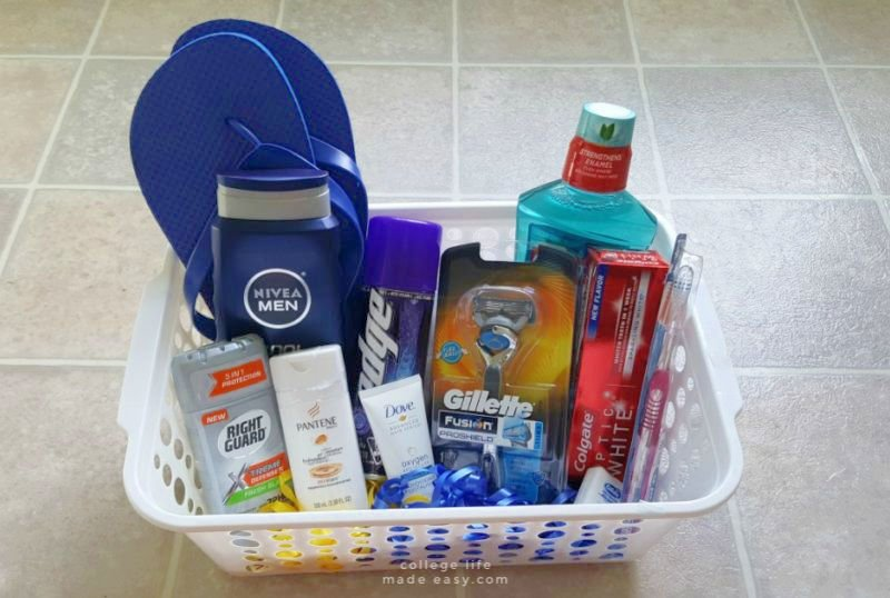 gift basket with an assortment of shower and self-care items