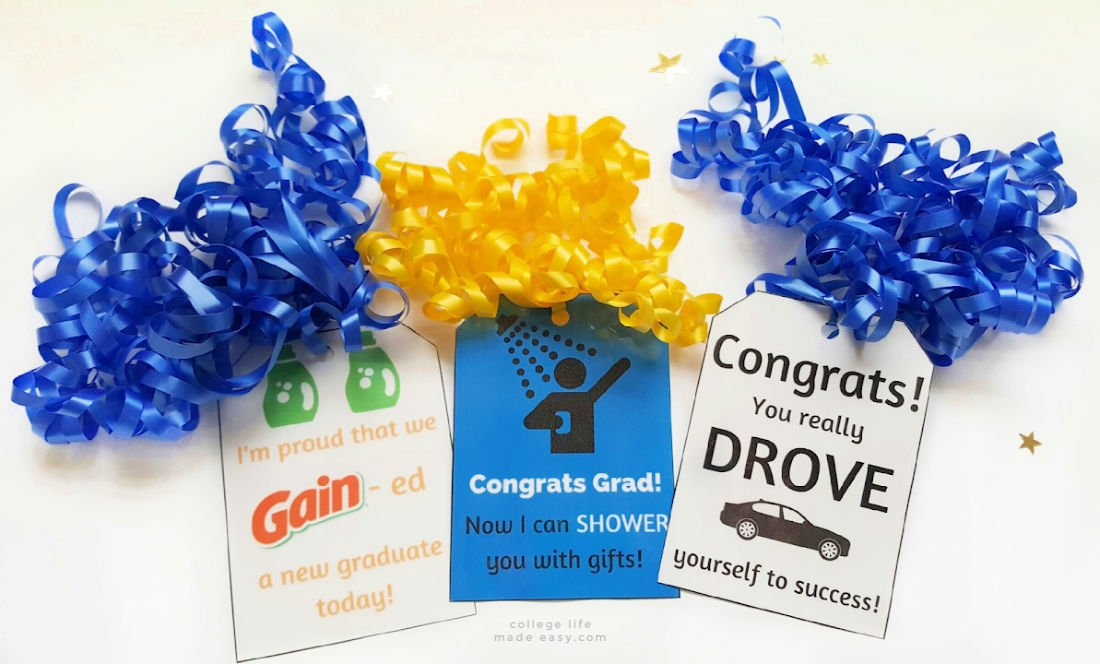 free printable gift tags to go with the college gift basket ideas