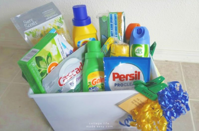 off to college gift basket example with laundry and household necessities