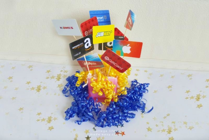 example of a gift basket for a new college student made with gift cards