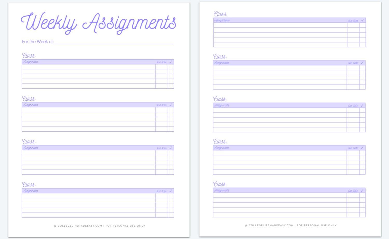 2 page homework planner template in purple