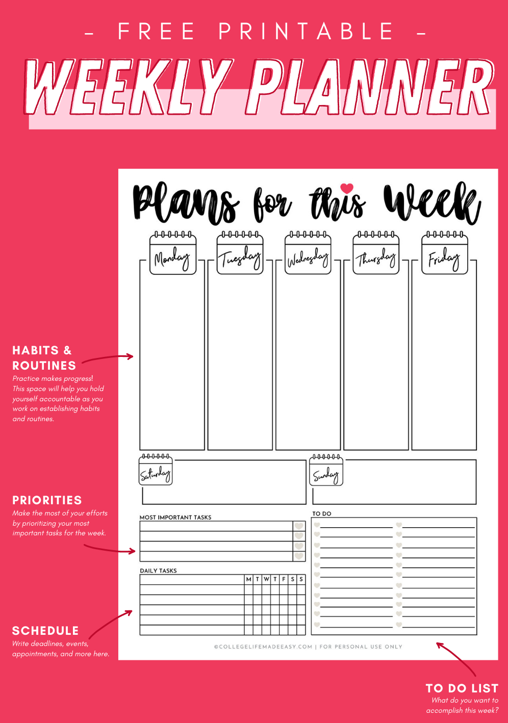 free cute printable weekly planner info graphic for saving this post to Pinterest