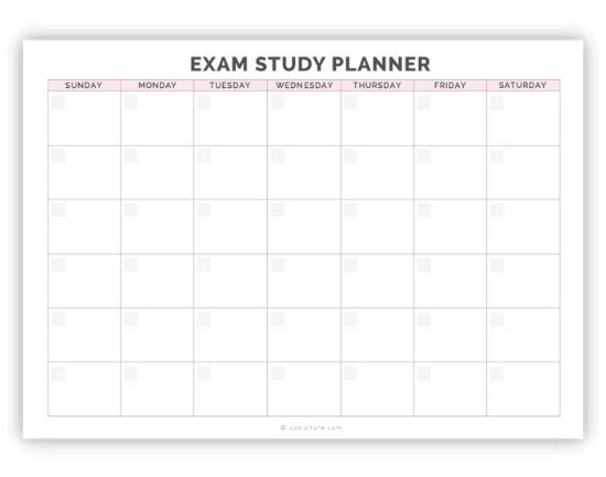 calendar template for creating a final exams study schedule